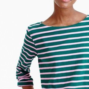 J. CREW GREEN PINK SAILOR STRIPE BOATNECK TEE